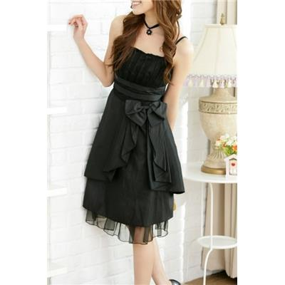 Robe cocktail clémentine noire, T 38 noeud taille