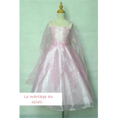 - 60% Robe fillette Cosmos rose clair 3/4 ans broderies étole